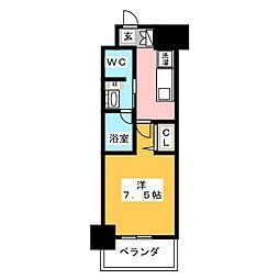 パークアクシス名古屋山王橋 14階1Kの間取り