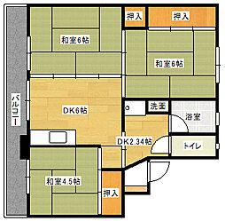 ビレッジハウス伊川 2号棟[307号室]の間取り