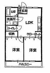 パインツリー若竹 1階2DKの間取り