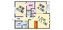 大阪府堺市西区上野芝向ケ丘町6丁の賃貸マンションの間取り