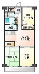 明石土山駅前スカイハイツA棟[3階]の間取り