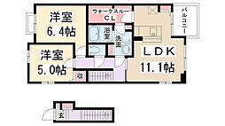 兵庫県伊丹市荻野西2丁目の賃貸アパートの間取り