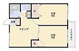 セジュール喜連東[2階]の間取り
