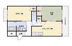 大阪府大阪市平野区喜連1丁目の賃貸マンションの間取り