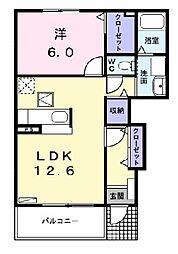愛知県名古屋市中川区本前田町の賃貸アパートの間取り