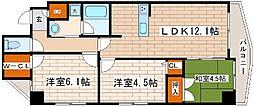 阪急神戸本線 王子公園駅 徒歩9分の賃貸マンション 6階3LDKの間取り