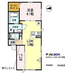 Casa Felice (カーサ フェリーチェ) 2階1LDKの間取り