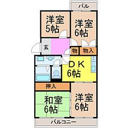 愛知県名古屋市昭和区台町1丁目の賃貸マンションの間取り