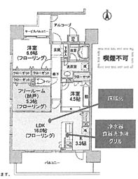 ワコーレザ・塚口町ハウス[1001号室]の間取り