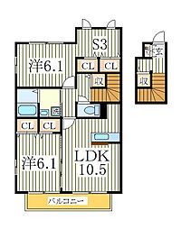 グランビスタB[2階]の間取り