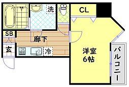 Osaka Metro中央線 九条駅 徒歩8分の賃貸マンション 2階1Kの間取り