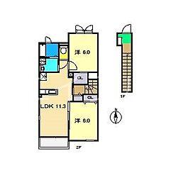 ベル・ソレイユ[2階]の間取り