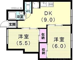 山陽電鉄本線 霞ヶ丘駅 徒歩18分の賃貸アパート 1階2DKの間取り
