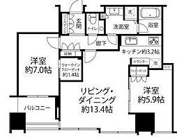 JR山手線 大崎駅 徒歩9分の賃貸マンション 27階2LDKの間取り