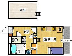レオパレスフォンターナ[2階]の間取り