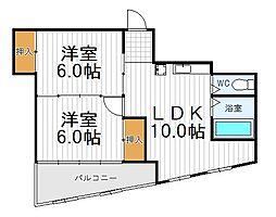 大阪府大阪市阿倍野区王子町1丁目の賃貸マンションの間取り