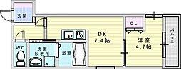 Osaka Metro御堂筋線 江坂駅 徒歩10分の賃貸アパート 3階1DKの間取り