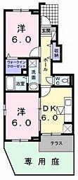 ラフレシール武蔵大和[1階]の間取り