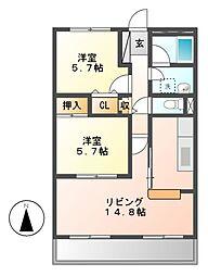 サンク・エトワール[1階]の間取り