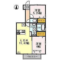 mela casa(丹波島)A棟[101号室号室]の間取り
