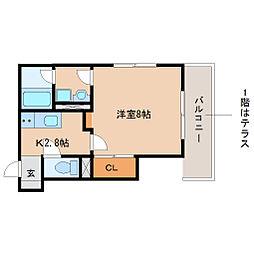 阪神本線 尼崎駅 徒歩20分の賃貸マンション 2階1Kの間取り