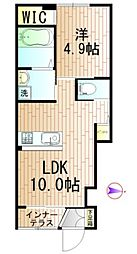 JR東北本線 日和田駅 徒歩10分の賃貸アパート 1階1LDKの間取り