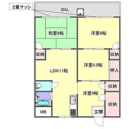兵庫県神戸市北区緑町2丁目の賃貸マンションの間取り