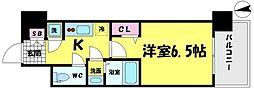 レジュールアッシュ京橋クロスII 5階1Kの間取り