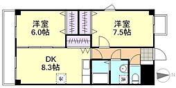 アーヴァンシティ中島田[102号室]の間取り