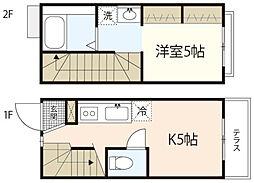 広島電鉄宮島線 草津駅 徒歩7分の賃貸アパート 1階1Kの間取り