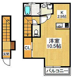 イースト229 2階ワンルームの間取り