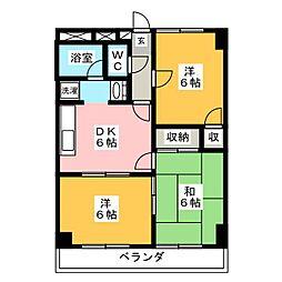 グリーンハイツ[4階]の間取り