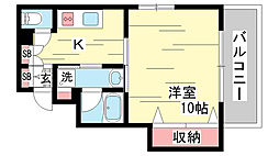 兵庫県神戸市兵庫区西橘通2丁目の賃貸マンションの間取り
