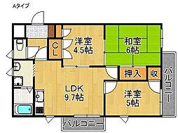 タリア・コート阪南北棟[3階]の間取り