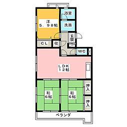 愛知県名古屋市昭和区南分町3丁目の賃貸マンションの間取り