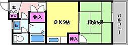 兵庫県芦屋市呉川町の賃貸マンションの間取り