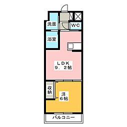 La・La garden 3階1LDKの間取り