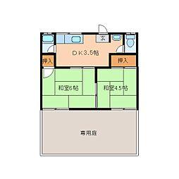 奈良県奈良市あやめ池南の賃貸アパートの間取り