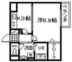 大阪府岸和田市筋海町の賃貸アパートの間取り