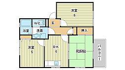 兵庫県姫路市東夢前台3丁目の賃貸アパートの間取り