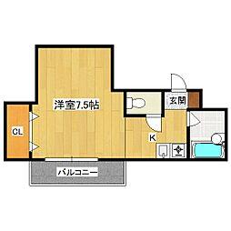 シングルハウスアトラクタービル[502号室]の間取り