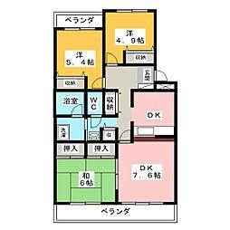 愛知県名古屋市天白区八事天道の賃貸マンションの間取り