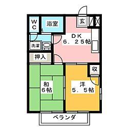 オーロラハイツ[2階]の間取り