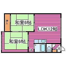 コーポ津元B[102号室]の間取り