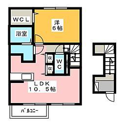愛知県一宮市多加木2丁目の賃貸アパートの間取り
