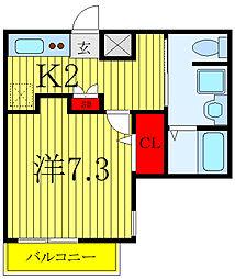 JR埼京線 北赤羽駅 徒歩12分の賃貸マンション 5階1Kの間取り