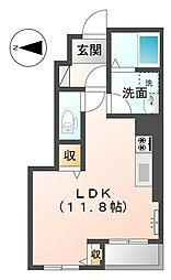 リンバ(アパート) 1階ワンルームの間取り