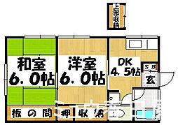 福岡県大野城市雑餉隈町1丁目の賃貸アパートの間取り