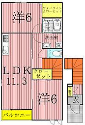 プリムローズA・B(野田市)[2階]の間取り
