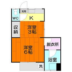 コーポ豊田[A-2号室]の間取り